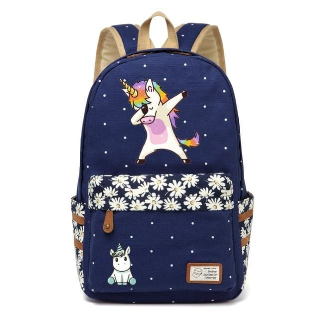 Wishot Cute Unicorn Dab Cartoon Backpack For Women Girls Canvas Bag Flowers Wave Point Rucksacks Navy Blue3