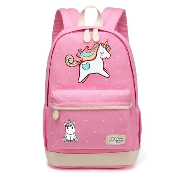 Wishot Cute Unicorn Dab Cartoon Backpack For Women Girls Canvas Bag Flowers Wave Point Rucksacks Pink3
