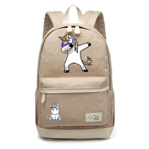 Wishot Cute Unicorn Dab Cartoon Backpack For Women Girls Canvas Bag Flowers Wave Point Rucksacks Khaki 1
