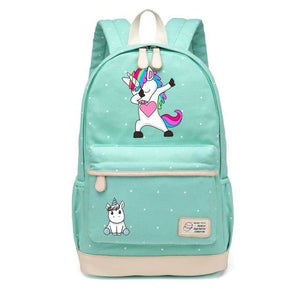Wishot Cute Unicorn Dab Cartoon Backpack For Women Girls Canvas Bag Flowers Wave Point Rucksacks New Green4
