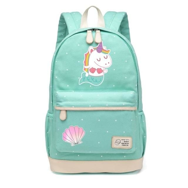 Wishot Cute Unicorn Dab Cartoon Backpack For Women Girls Canvas Bag Flowers Wave Point Rucksacks Mermaid