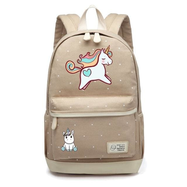 Wishot Cute Unicorn Dab Cartoon Backpack For Women Girls Canvas Bag Flowers Wave Point Rucksacks Khaki 2