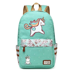 Wishot Cute Unicorn Dab Cartoon Backpack For Women Girls Canvas Bag Flowers Wave Point Rucksacks Green1