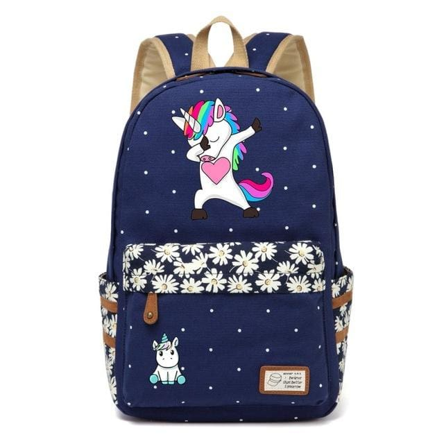 Wishot Cute Unicorn Dab Cartoon Backpack For Women Girls Canvas Bag Flowers Wave Point Rucksacks Navy Blue4