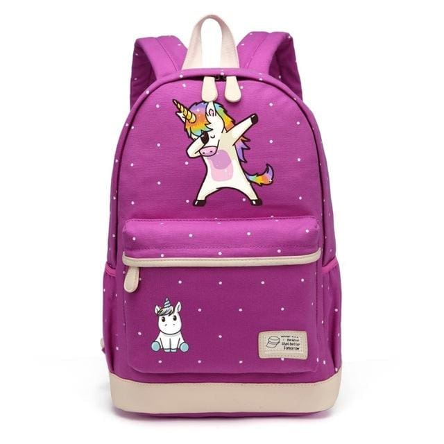 Wishot Cute Unicorn Dab Cartoon Backpack For Women Girls Canvas Bag Flowers Wave Point Rucksacks Purple2