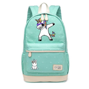 Wishot Cute Unicorn Dab Cartoon Backpack For Women Girls Canvas Bag Flowers Wave Point Rucksacks Navy Blue1