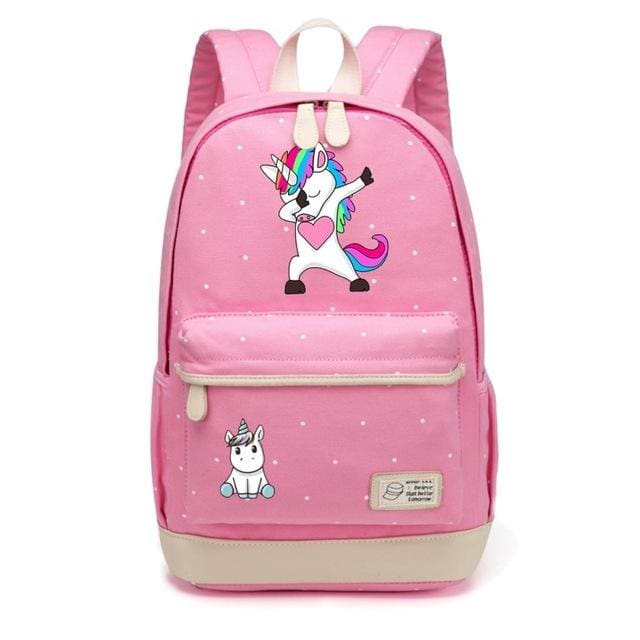 Wishot Cute Unicorn Dab Cartoon Backpack For Women Girls Canvas Bag Flowers Wave Point Rucksacks Pink4