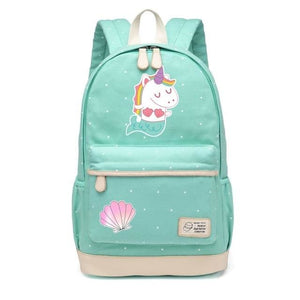 Wishot Cute Unicorn Dab Cartoon Backpack For Women Girls Canvas Bag Flowers Wave Point Rucksacks New Green2