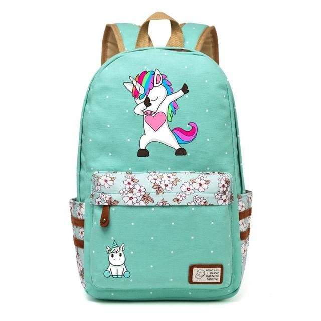 Wishot Cute Unicorn Dab Cartoon Backpack For Women Girls Canvas Bag Flowers Wave Point Rucksacks Green3