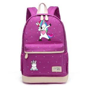 Wishot Cute Unicorn Dab Cartoon Backpack For Women Girls Canvas Bag Flowers Wave Point Rucksacks Purple4