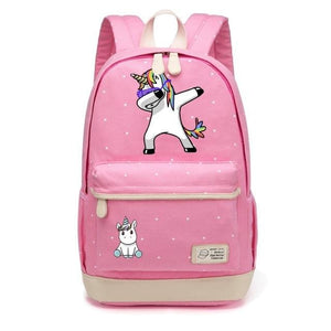 Wishot Cute Unicorn Dab Cartoon Backpack For Women Girls Canvas Bag Flowers Wave Point Rucksacks Pink1