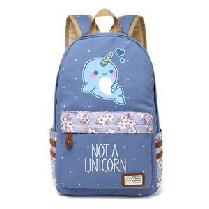 Wishot Cute Unicorn Dab Cartoon Backpack For Women Girls Canvas Bag Flowers Wave Point Rucksacks Wathet Blue3