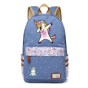 Wishot Cute Unicorn Dab Cartoon Backpack For Women Girls Canvas Bag Flowers Wave Point Rucksacks Wathet Blue4