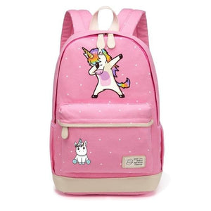 Wishot Cute Unicorn Dab Cartoon Backpack For Women Girls Canvas Bag Flowers Wave Point Rucksacks Pink2