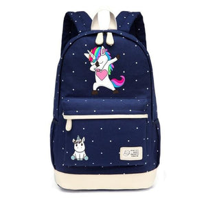 Wishot Cute Unicorn Dab Cartoon Backpack For Women Girls Canvas Bag Flowers Wave Point Rucksacks New Navy Blue4