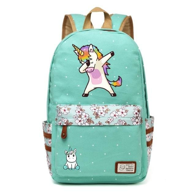Wishot Cute Unicorn Dab Cartoon Backpack For Women Girls Canvas Bag Flowers Wave Point Rucksacks Green4