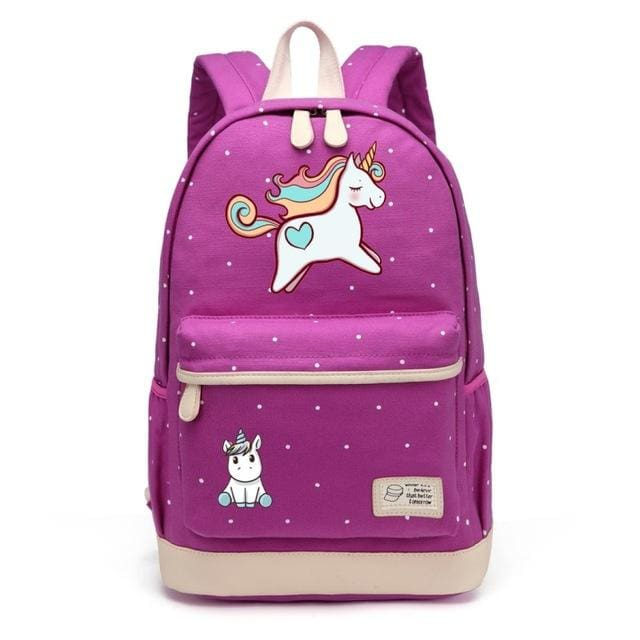Wishot Cute Unicorn Dab Cartoon Backpack For Women Girls Canvas Bag Flowers Wave Point Rucksacks Purple3
