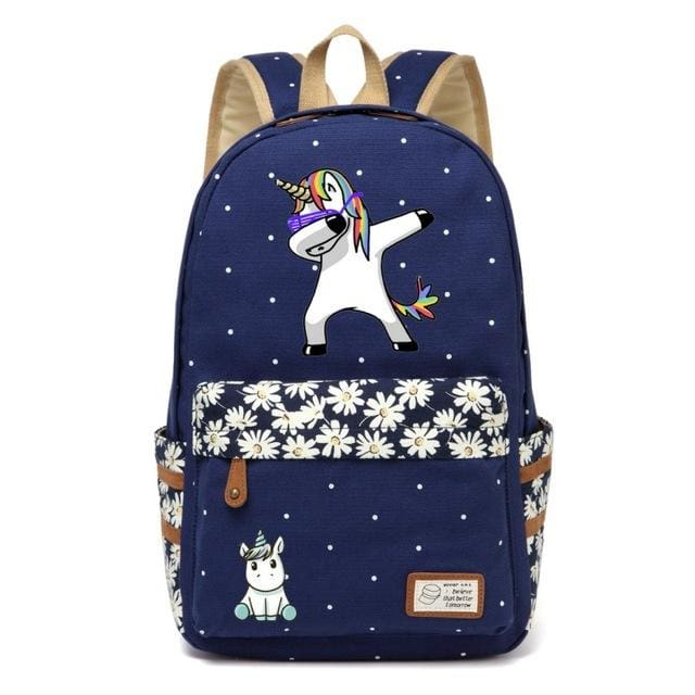 Wishot Cute Unicorn Dab Cartoon Backpack For Women Girls Canvas Bag Flowers Wave Point Rucksacks Navy Blue2