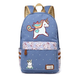 Wishot Cute Unicorn Dab Cartoon Backpack For Women Girls Canvas Bag Flowers Wave Point Rucksacks Wathet Blue1