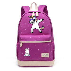 Wishot Cute Unicorn Dab Cartoon Backpack For Women Girls Canvas Bag Flowers Wave Point Rucksacks Purple1