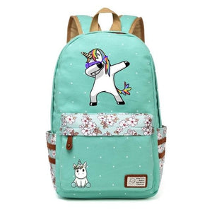 Wishot Cute Unicorn Dab Cartoon Backpack For Women Girls Canvas Bag Flowers Wave Point Rucksacks Green2