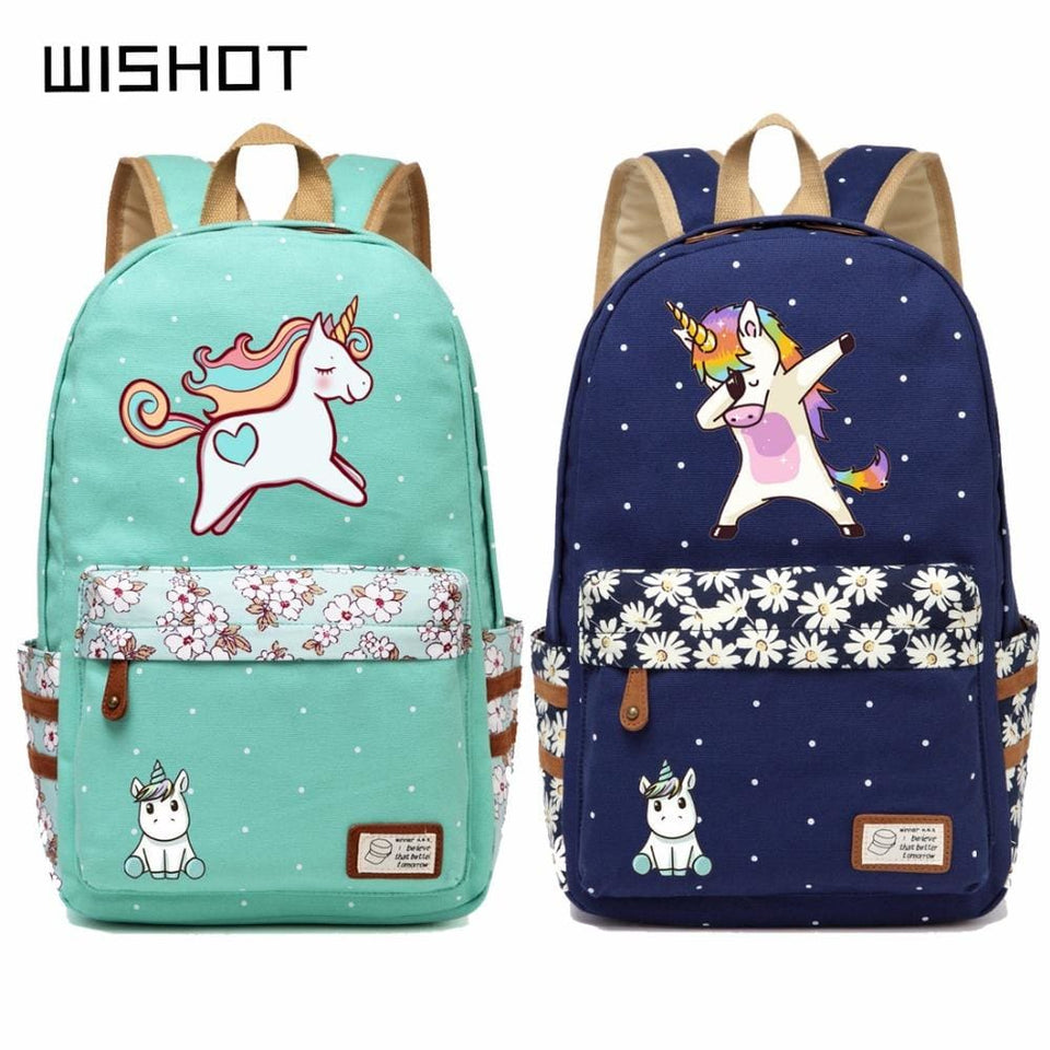 Wishot Cute Unicorn Dab Cartoon Backpack For Women Girls Canvas Bag Flowers Wave Point Rucksacks