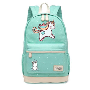 Wishot Cute Unicorn Dab Cartoon Backpack For Women Girls Canvas Bag Flowers Wave Point Rucksacks New Green3