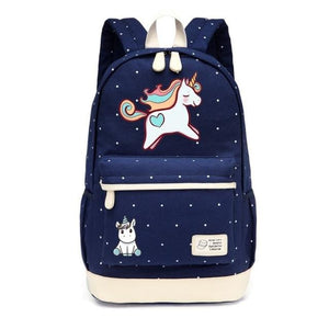 Wishot Cute Unicorn Dab Cartoon Backpack For Women Girls Canvas Bag Flowers Wave Point Rucksacks New Navy Blue3