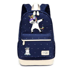 Wishot Cute Unicorn Dab Cartoon Backpack For Women Girls Canvas Bag Flowers Wave Point Rucksacks New Navy Blue1