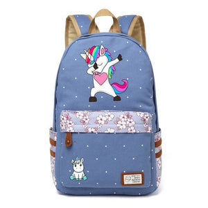Wishot Cute Unicorn Dab Cartoon Backpack For Women Girls Canvas Bag Flowers Wave Point Rucksacks Wathet Blue5