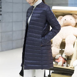 Woman Spring Padded Warm Coat Ultra Light Duck Down Jacket Long Female Overcoat Slim Solid Jackets - MBMCITY