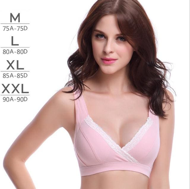 Womans No Rims 100% All Cotton Bra Simple And Comfortable Solid Color Wire Free Bras Lingerie Pink / 75C