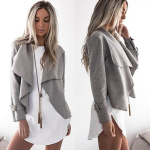 Women Autumn Cardigan Jacket Women Long Sleeve Outerwear Coats  Turn-down Collar Winter Casual - MBMCITY