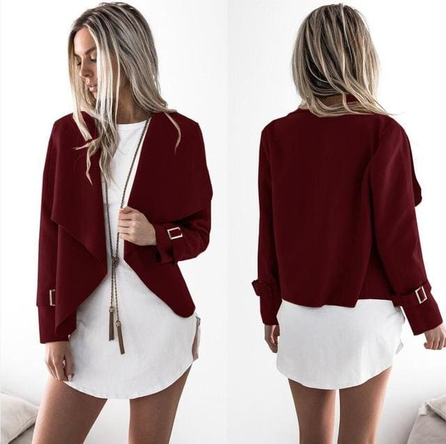Women Autumn Cardigan Jacket Women Long Sleeve Outerwear Coats 2017 Turn-down Collar Winter Casual Wine Red / L