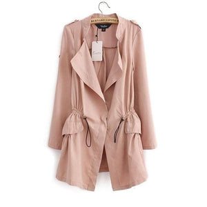 Women Autumn Office Long Trench Full Sleeve Drawstring Waist Coats Casaco Feminine Casual Streetwear Pink / L / China
