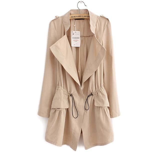 Women Autumn Office Long Trench Full Sleeve Drawstring Waist Coats Casaco Feminine Casual Streetwear As Picture / L / China