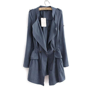 Women Autumn Office Long Trench Full Sleeve Drawstring Waist Coats Casaco Feminine Casual Streetwear As Picture 1 / L / China