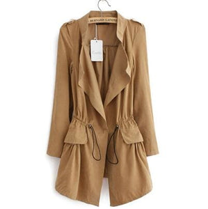 Women Autumn Office Long Trench Full Sleeve Drawstring Waist Coats Casaco Feminine Casual Streetwear Khaki / L / China