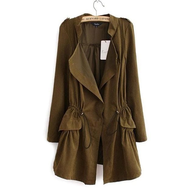 Women Autumn Office Long Trench Full Sleeve Drawstring Waist Coats Casaco Feminine Casual Streetwear Army Green / L / China