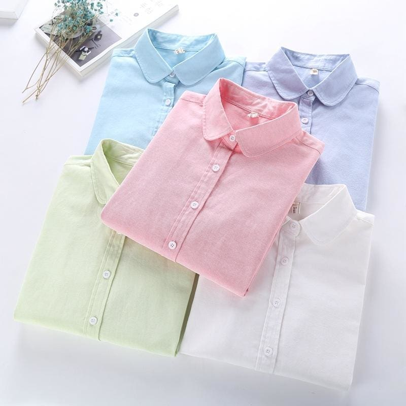 Women Blouse New Casual BRAND Long Sleeved Cotton Oxford White Shirt Woman Office Shirts - MBMCITY