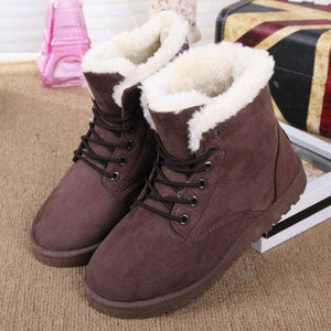 Women Boots Snow Warm Winter Boots Women Shoes Lace Up Fur Ankle Boots Ladies Winter Shoes Black Black / 5