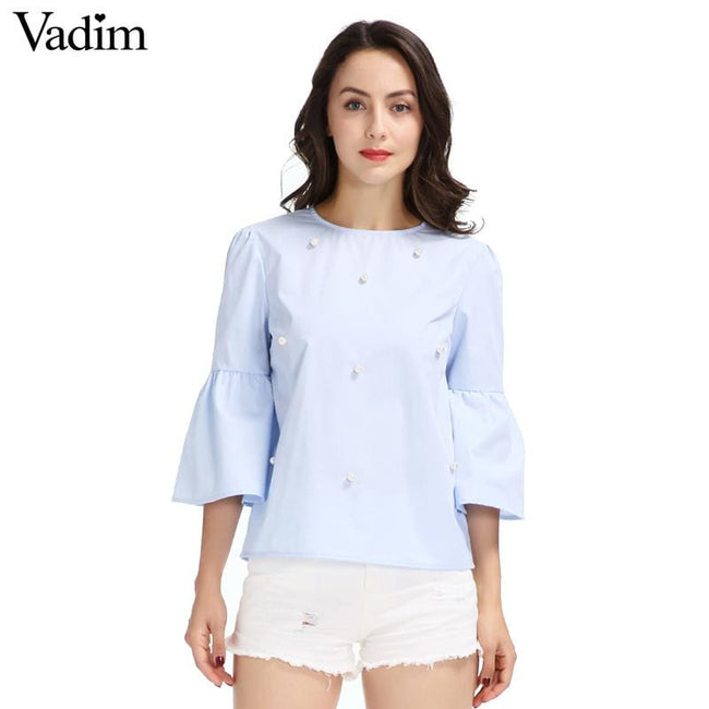 Women elegant pearls beading flare sleeve shirt O neck blouse three quarter sleeve summer brand - MBMCITY