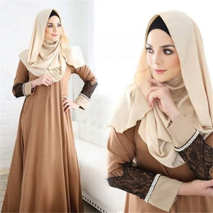 Women Fashion Abaya Jilbab Islamic Clothes Muslim Cocktail Maxi Lace Dress Robe Femme Musulman