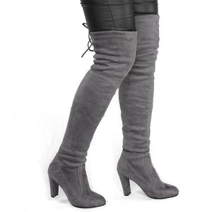 Women Faux Suede Thigh High Boots Fashion Over the Knee Boot Stretch Flock Sexy Overknee High Heels