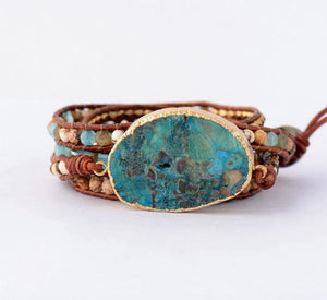 Women Leather Bracelet Unique Mixed Natural Stones Gilded Stone Charm 5 Strands Wrap Bracelets