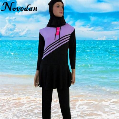 eacd5e668c588 Women Muslim Swimwear Islamic Swimsuit Plus Size Modest Long Sleeve Muslim  Swim Suits Bathing Wear Purple ...