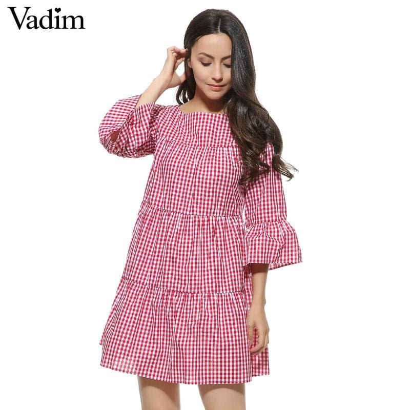 Women oversized pleated plaid dress summer elegant checkered flare sleeve loose casual sweet dresses - MBMCITY