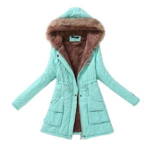 Women Parka Fashion Autumn Winter Warm Jackets Women Fur Collar Coats Long Parkas Hoodies Office