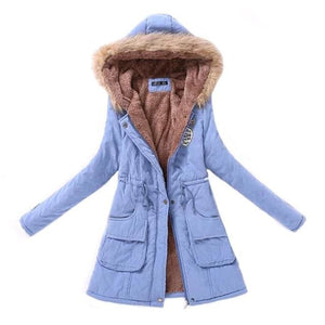 Women Parka Fashion Autumn Winter Warm Jackets Women Fur Collar Coats Long Parkas Hoodies Office Peach Pink / L