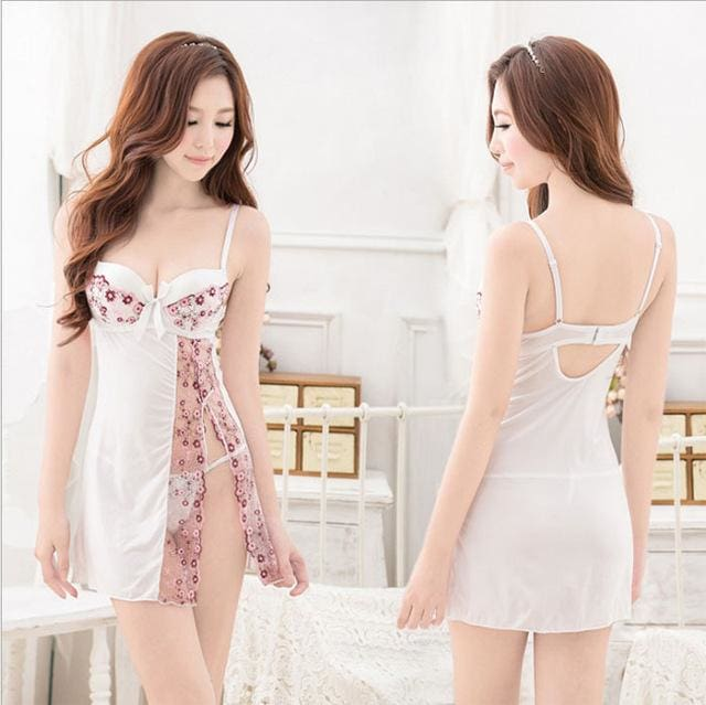 Women Sexy Lingerie Silk Sleepwear Lace Hallow Out Floral Summer Night Dress Padded Bra Nightgown White / M